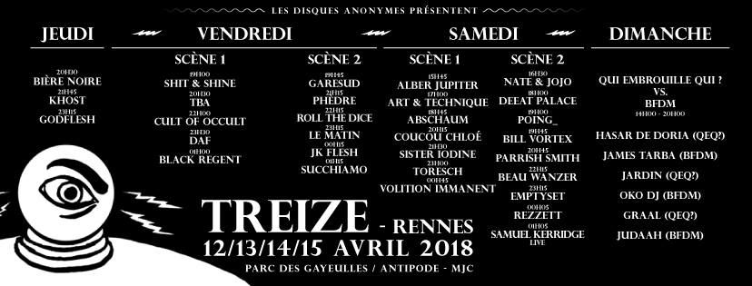 Timeline Treize Festival, Rennes du 12 au 15 Avril 2018